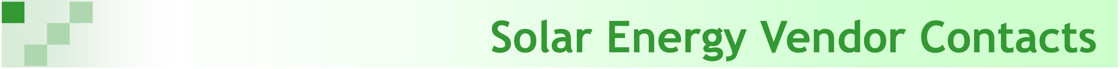 Solar Vendor Contacts